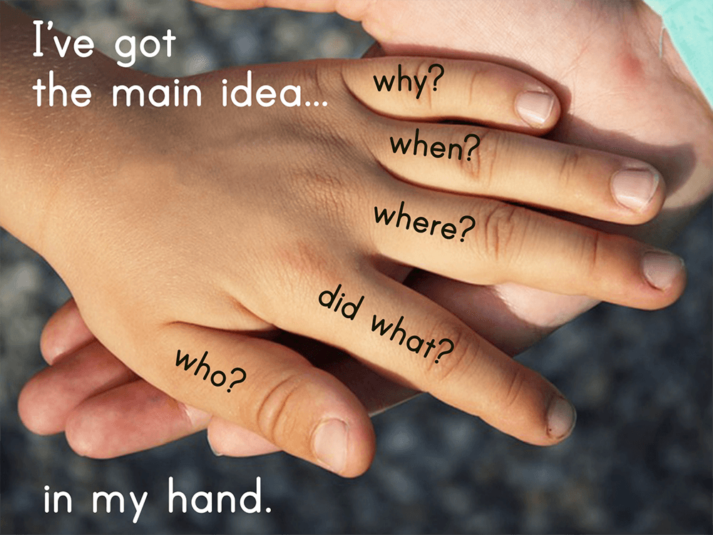 Child's hand with I've got the main idea