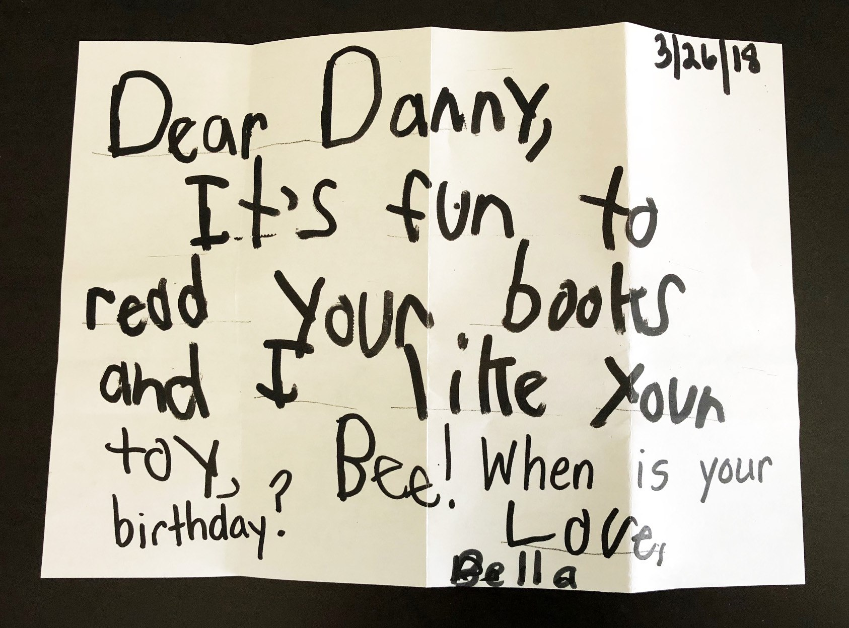 Letter from young reader who likes Danny and Bee