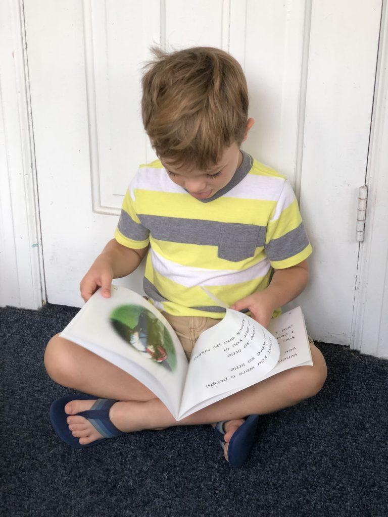 Boy Reading Puppy Danny Lap Book