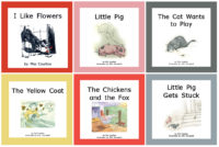 The Down on the Farm Set of 11 illustrated titles features familiar farm animals.