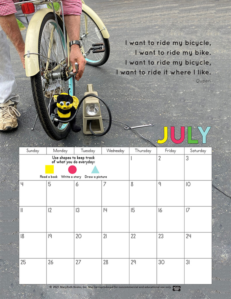 2021 July Calendar Bike Ride Queen